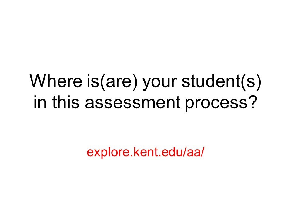 Where is(are) your student(s) in this assessment process