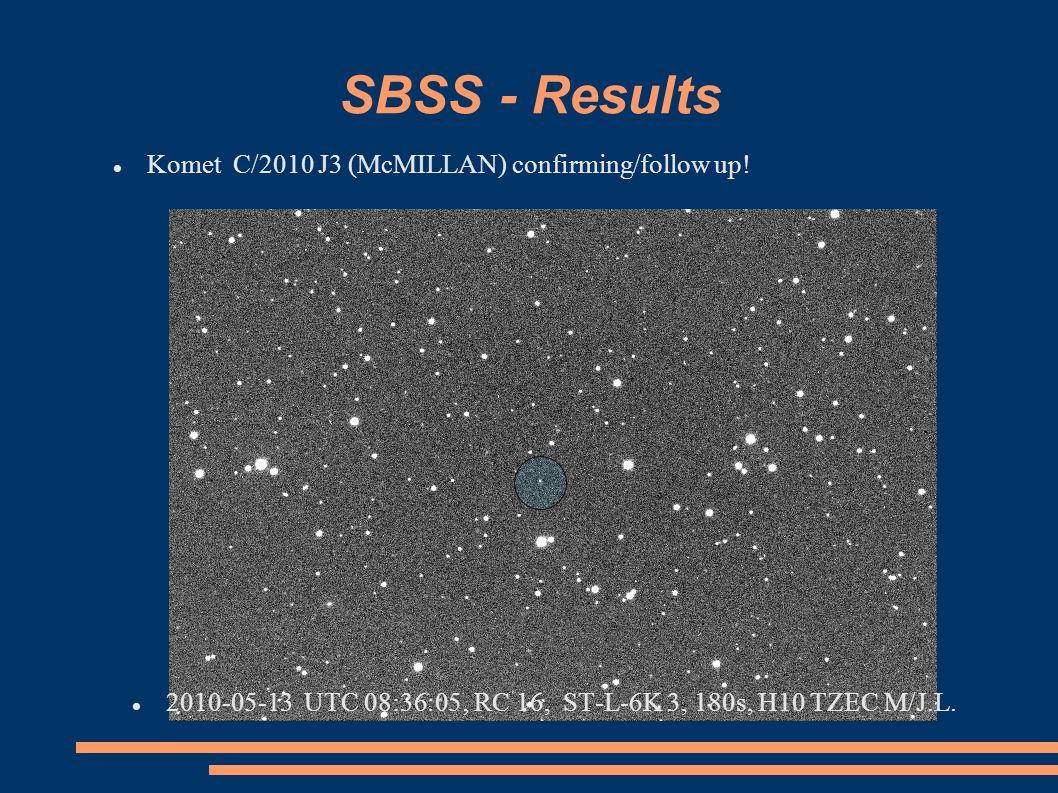 SBSS - Results Komet C/2010 J3 (McMILLAN) confirming/follow up!