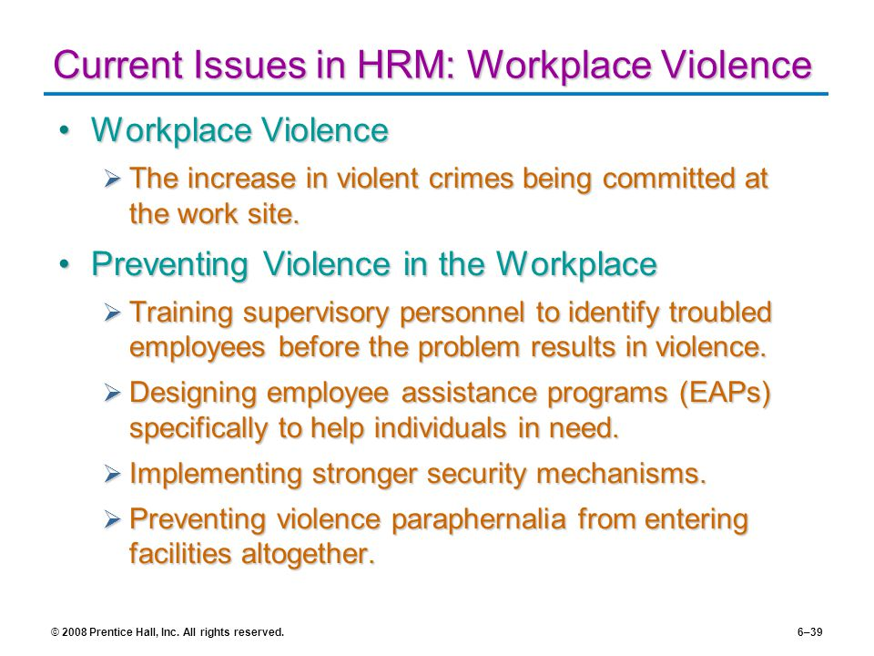 the issue of violence in the workplace The recent spate of domestic violence in the news media has prompted me to choose this topic: impact of domestic violence in the workplace on this blog this blog seeks to create awareness and discuss issues pertaining to domestic violence in the workplace domestic violence is not.