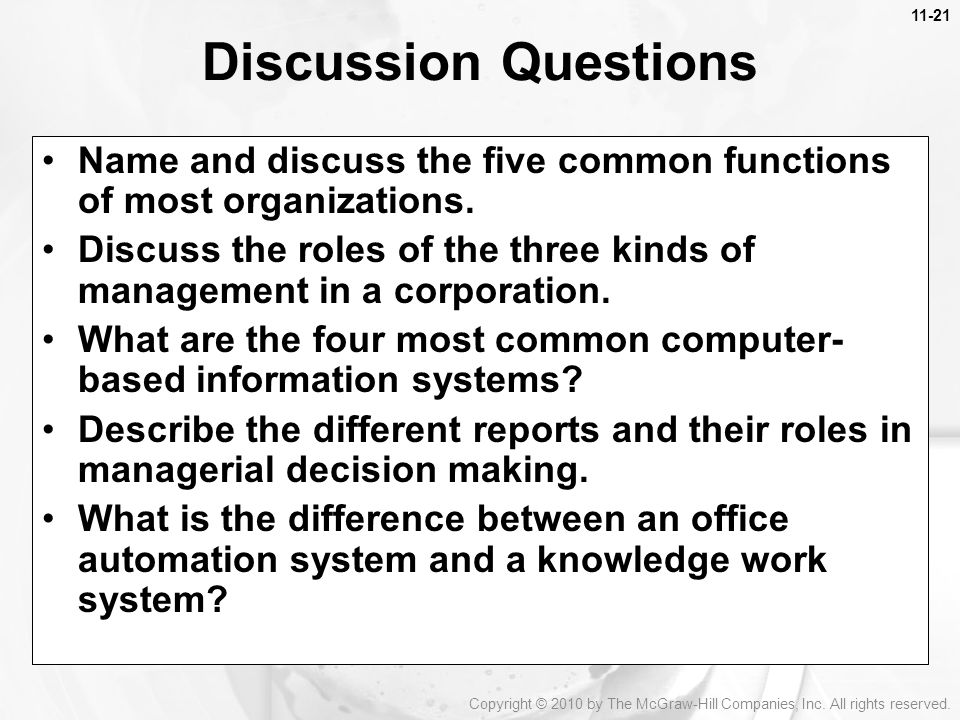 Discussion Questions Name and discuss the five common functions of most organizations.