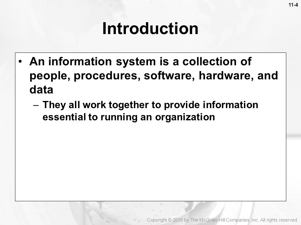 Introduction An information system is a collection of people, procedures, software, hardware, and data.