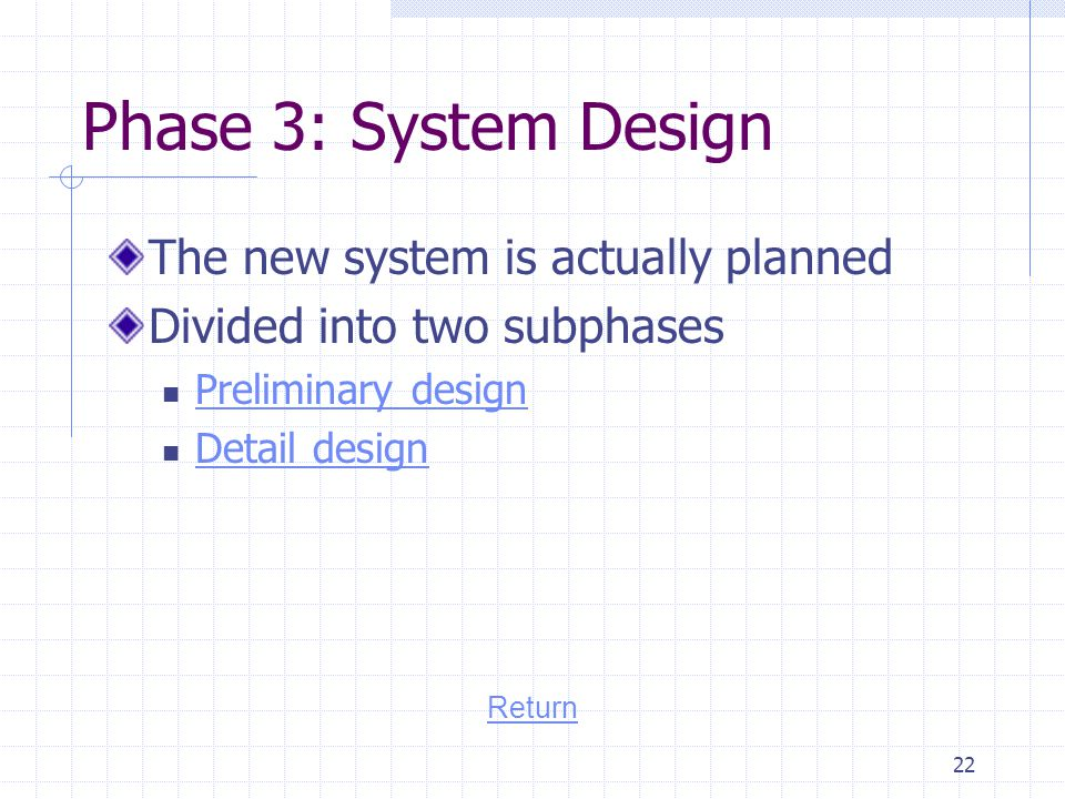 Phase 3: System Design The new system is actually planned
