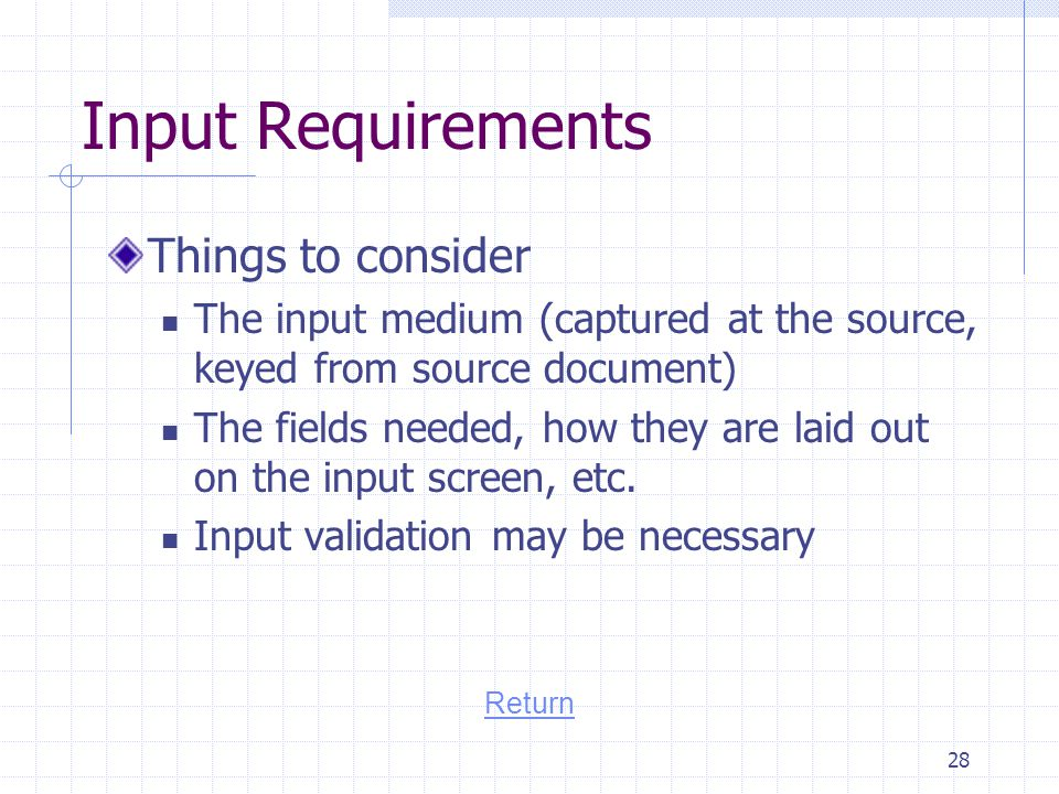 Input Requirements Things to consider