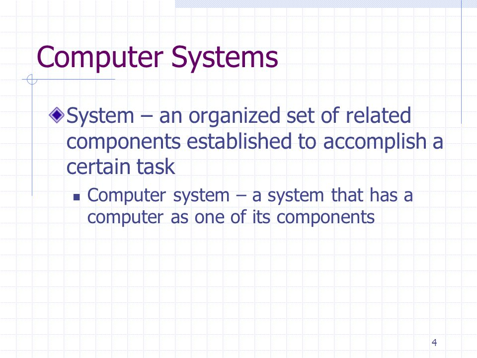 Computer Systems System – an organized set of related components established to accomplish a certain task.