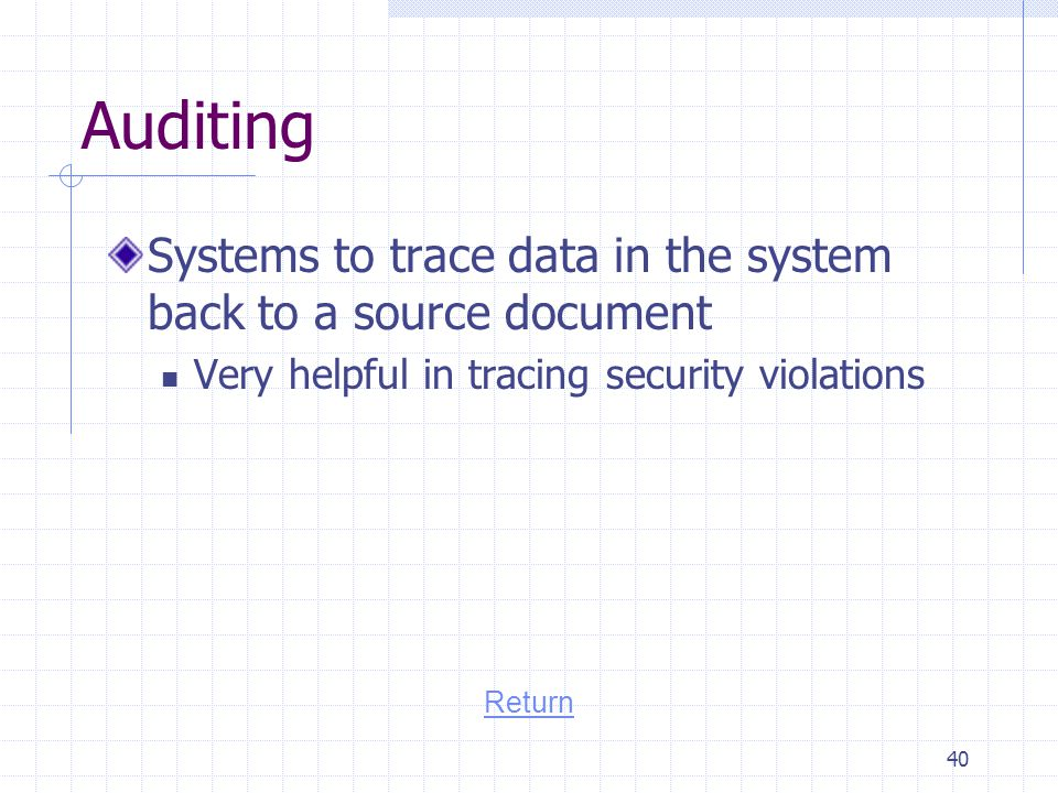 Auditing Systems to trace data in the system back to a source document