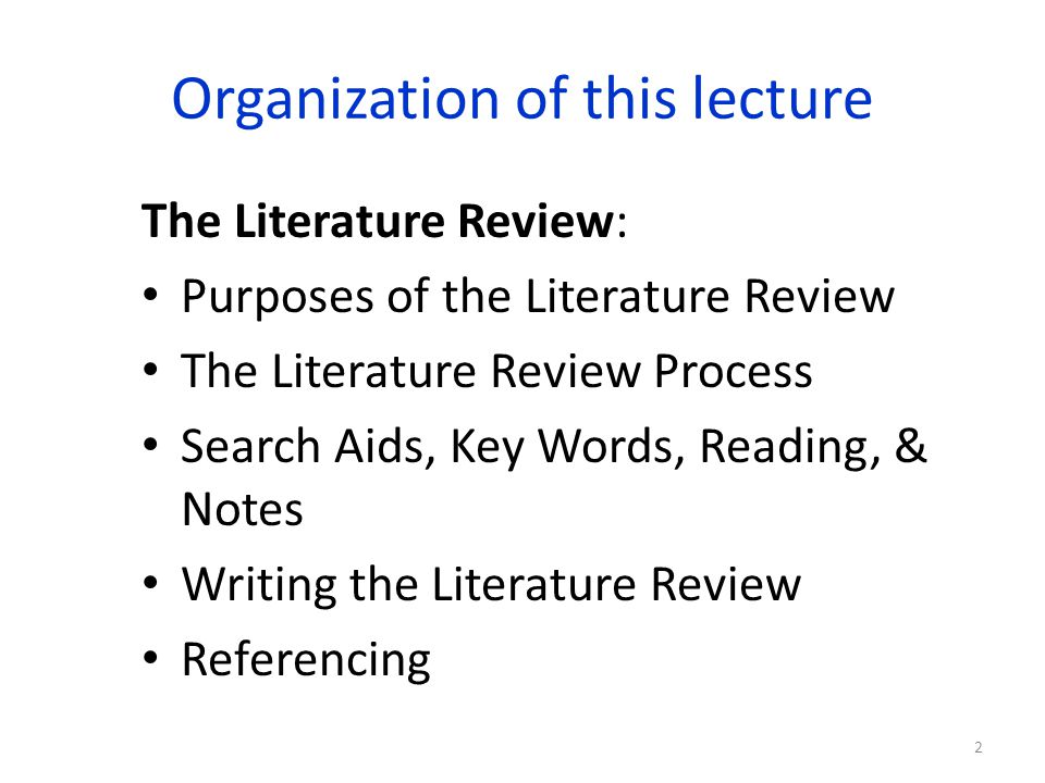 The Literature Review Identifying key words