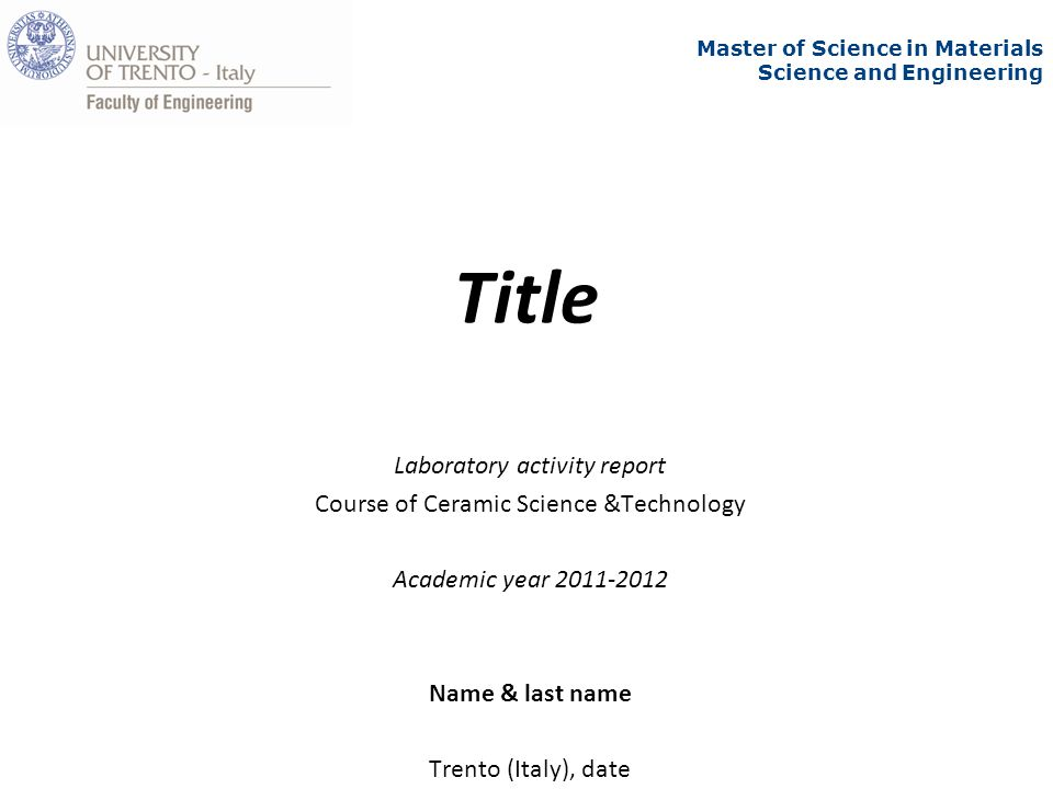 Title Laboratory Activity Report Course Of Ceramic Science