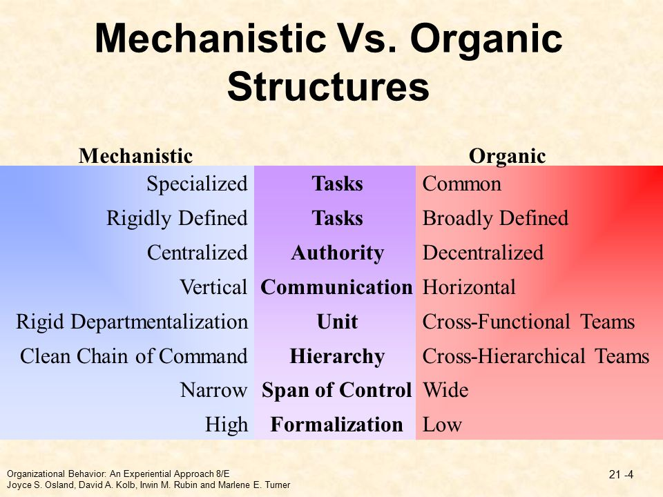 organic company structure Our findings span the realm of action and structure in the action realm we saw  that when authentic relation- ships were valued (at all levels) companies were.