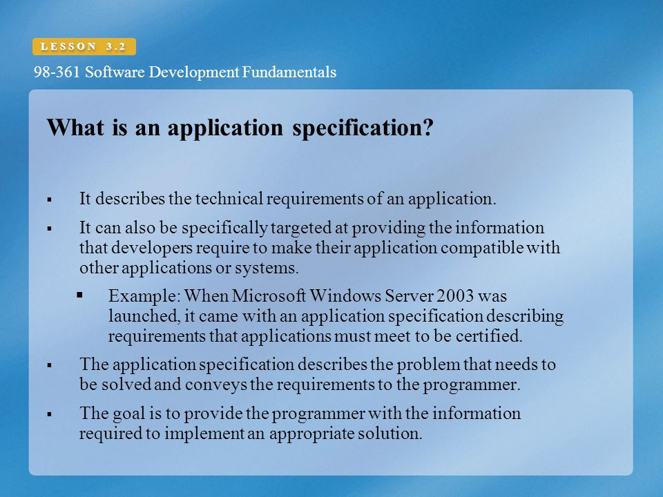 What is an application specification