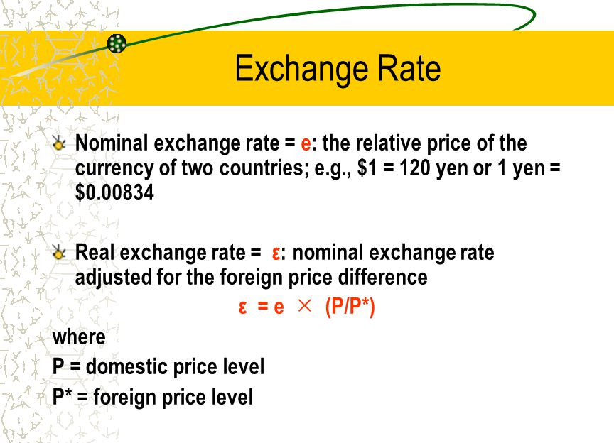Exchange Rate Nominal exchange rate = e: the relative price of the currency of two countries; e.g., $1 = 120 yen or 1 yen = $