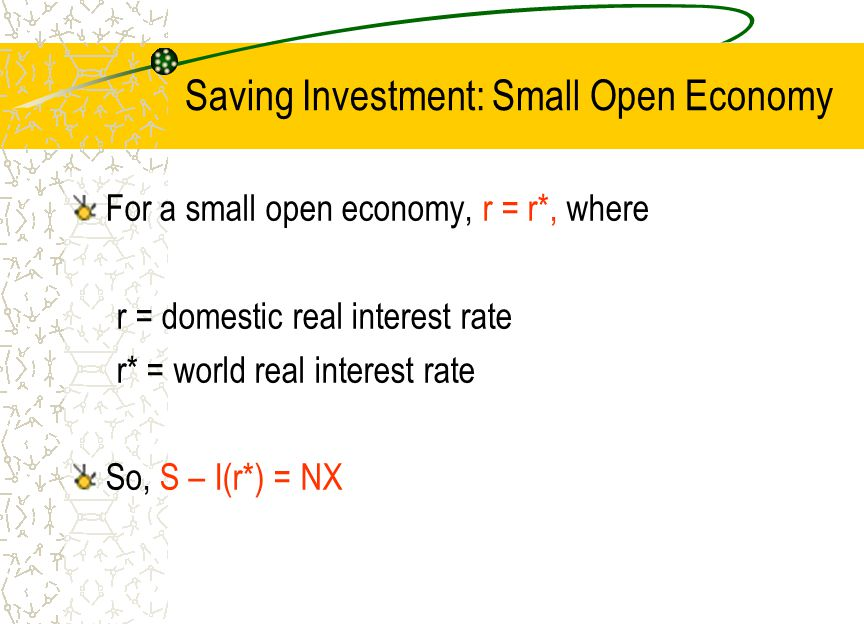 Saving Investment: Small Open Economy