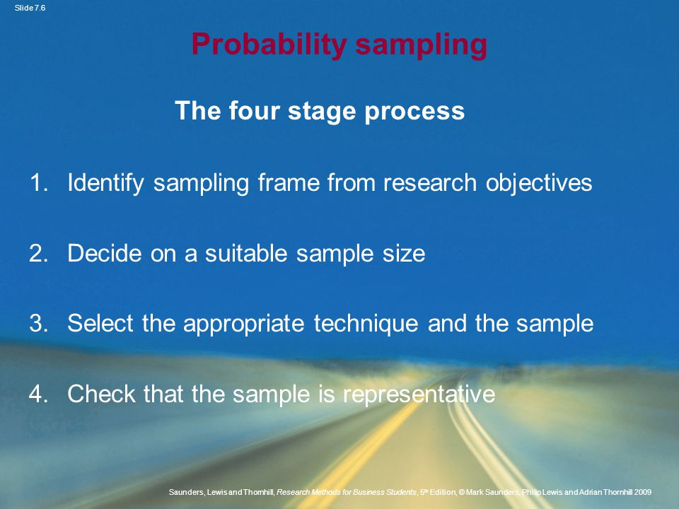 Probability sampling The four stage process