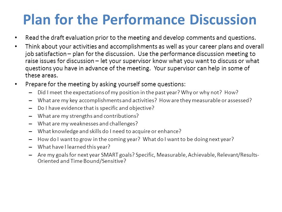 Plan for the Performance Discussion