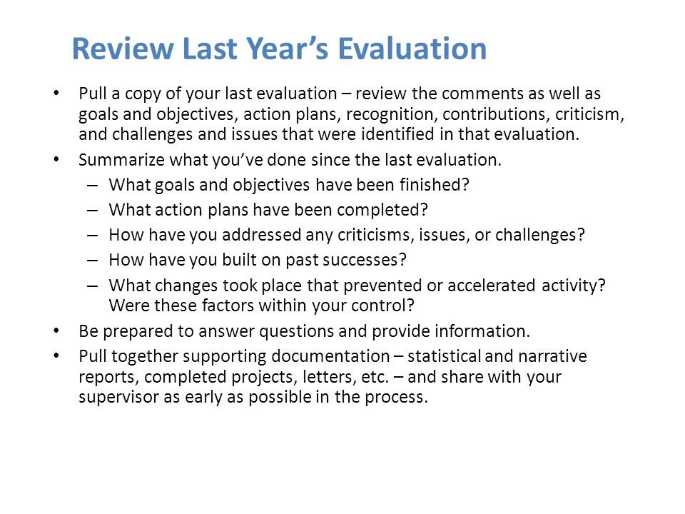 Review Last Year's Evaluation