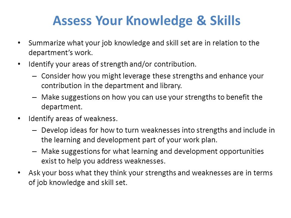 Assess Your Knowledge & Skills