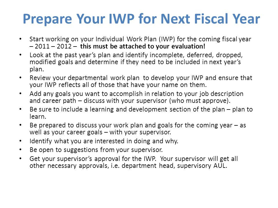 Prepare Your IWP for Next Fiscal Year