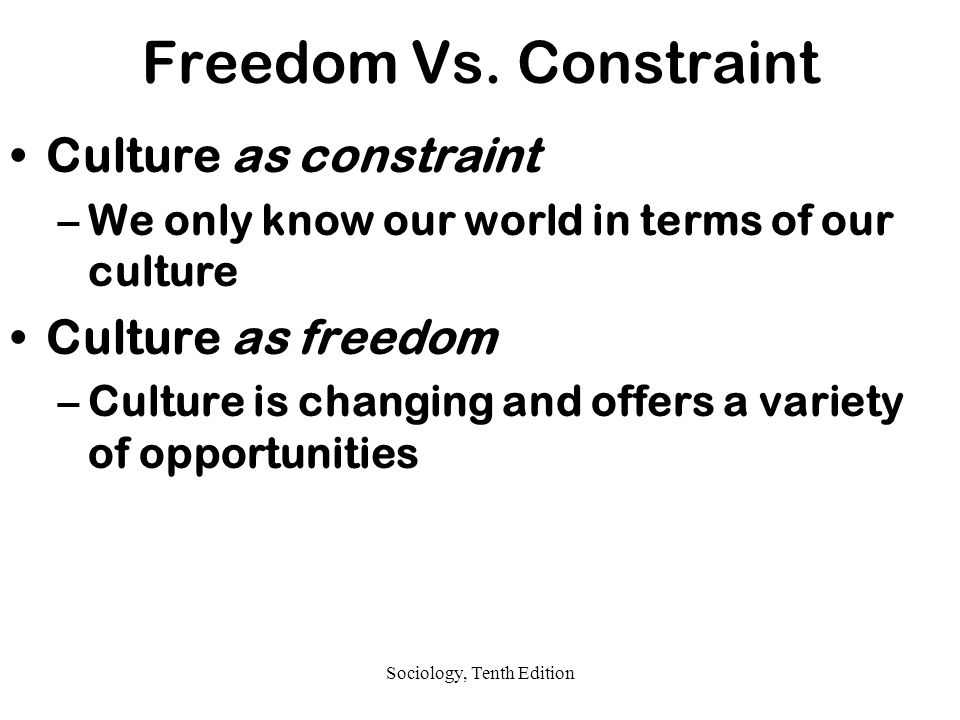 "is culture a constraint or freedom Culture newsletter  freedom and free will  free will is subject to the same ""degrees of freedom"" constraint that our physical freedom has,."