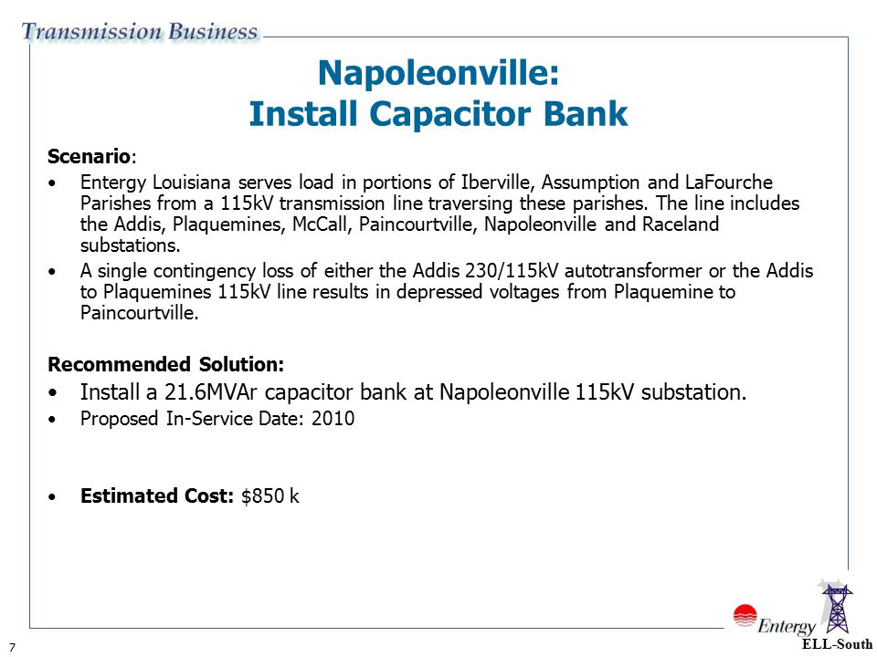Napoleonville: Install Capacitor Bank