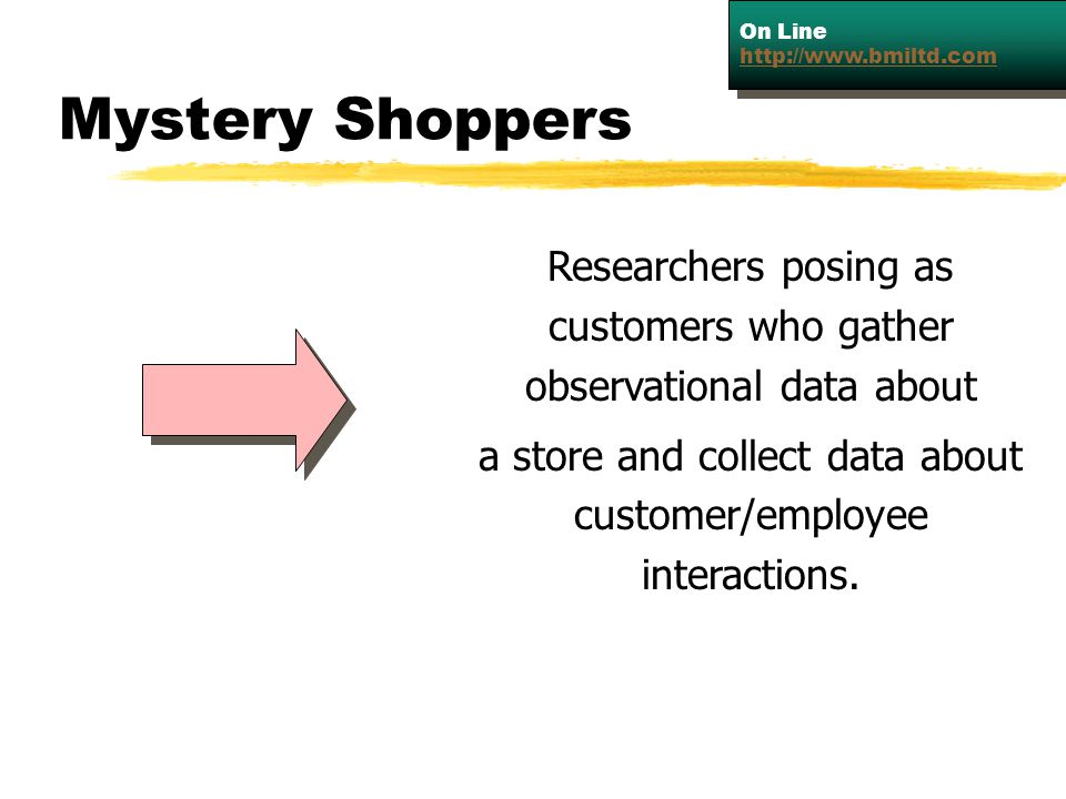 On Line   Mystery Shoppers. Researchers posing as customers who gather observational data about.