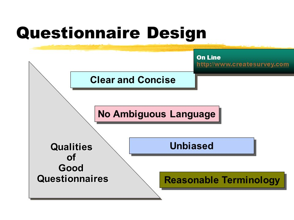 Qualities of Good Questionnaires Reasonable Terminology