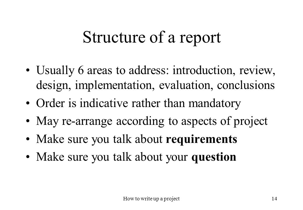 how to write a project report - 3 - 1 introduction this guide is meant to help you produce a good final year project report or msc dissertation a good report is one that presents your project work concisely and effectively.