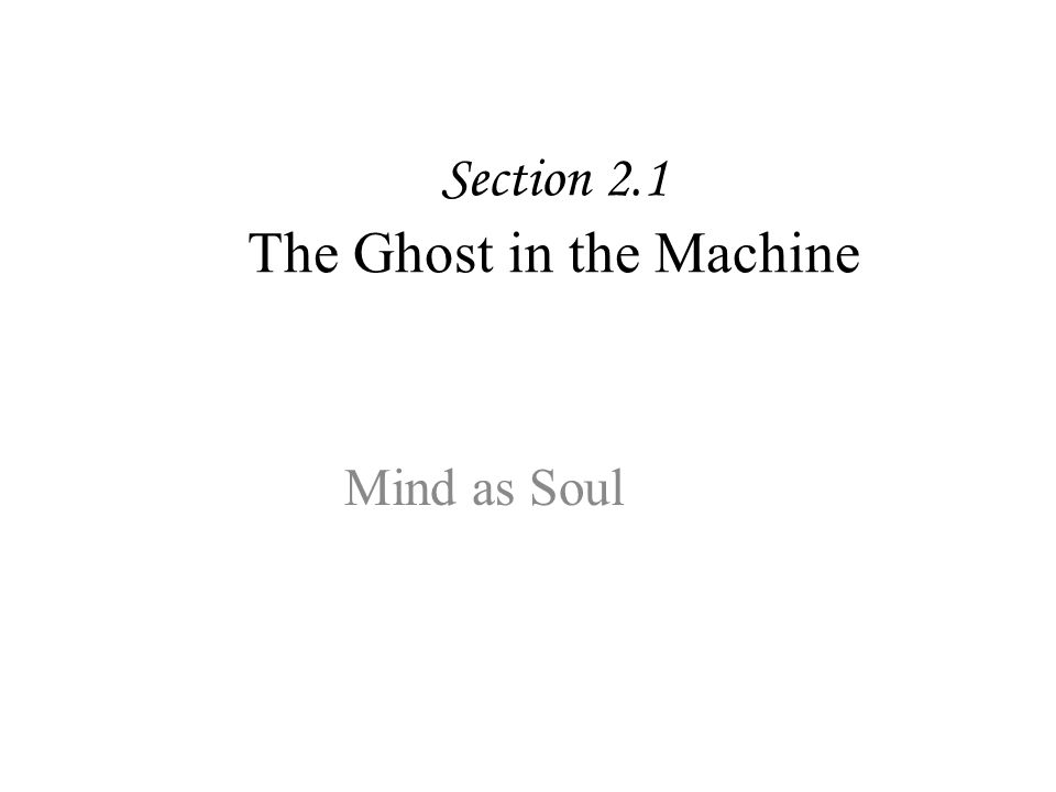 Section 2.1 The Ghost in the Machine