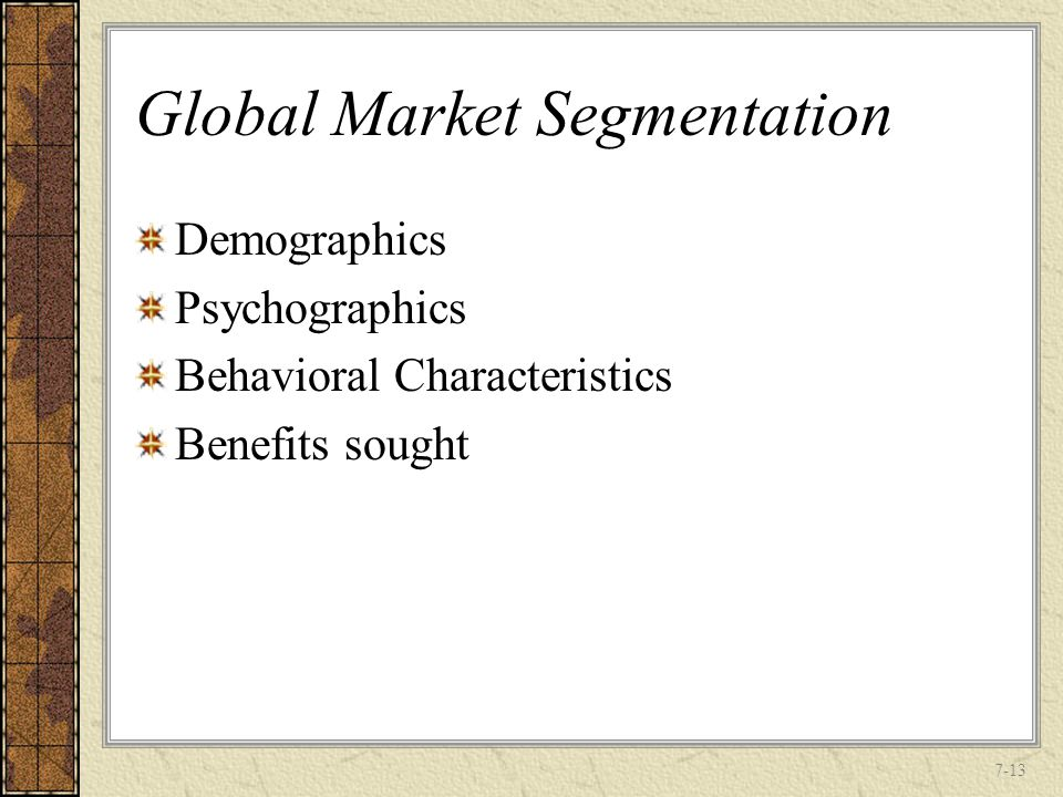 the conditions needed for the effective market segmentation • appropriate market segmentation, relating to the low spending power of the major part of the market and developing effective marketing strategies to apply in different sections of the transforming society (zainulbhai, 2005) are other major issues facing.