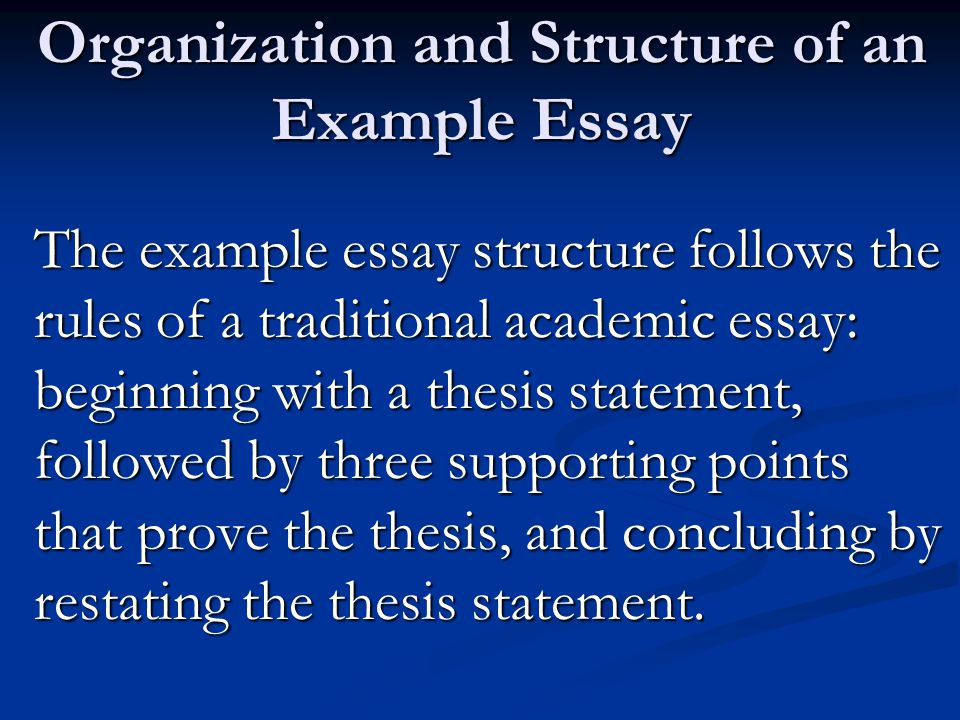organization and structure of an example essay
