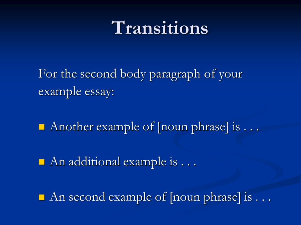 expository essay transitions