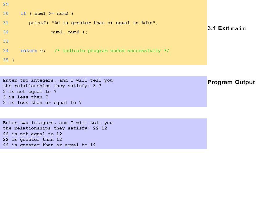 3.1 Exit main Program Output