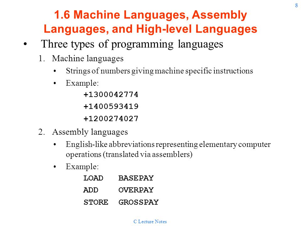 1.6 Machine Languages, Assembly Languages, and High-level Languages