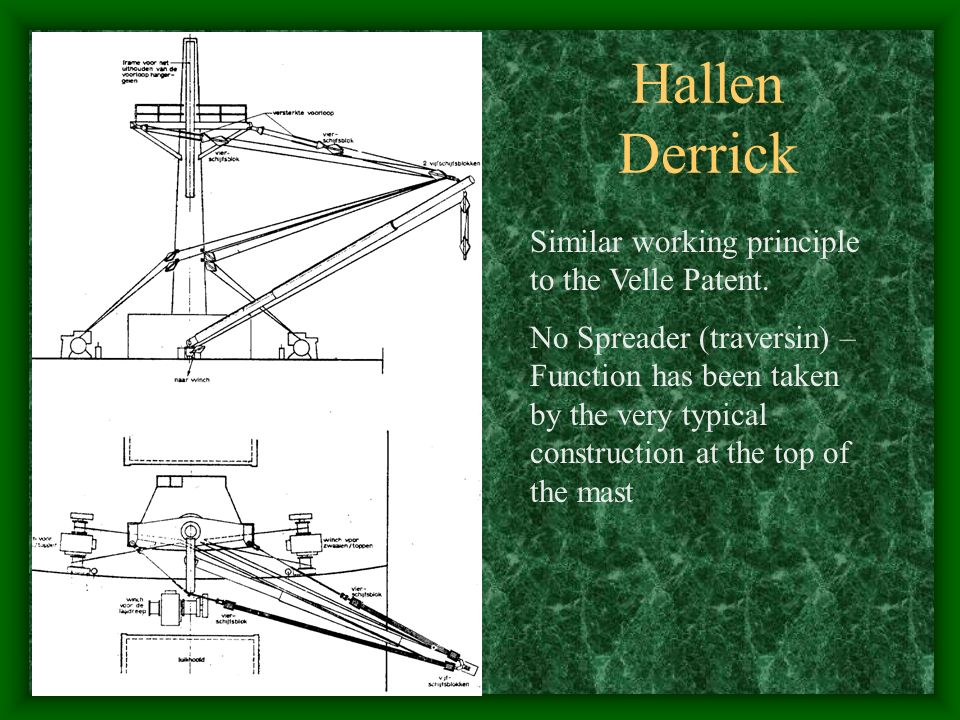 Hallen Derrick Similar working principle to the Velle Patent.