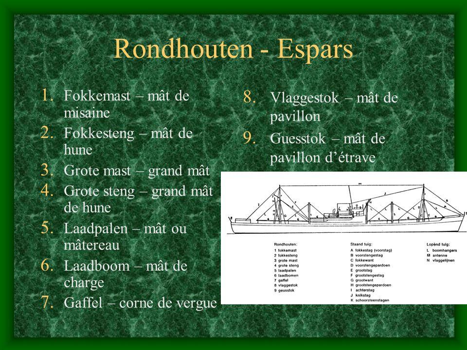 Rondhouten - Espars Fokkemast – mât de misaine