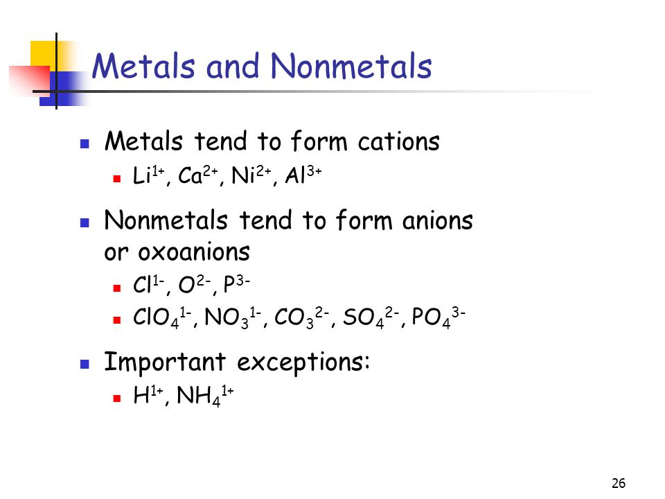 Metals and Nonmetals Metals tend to form cations