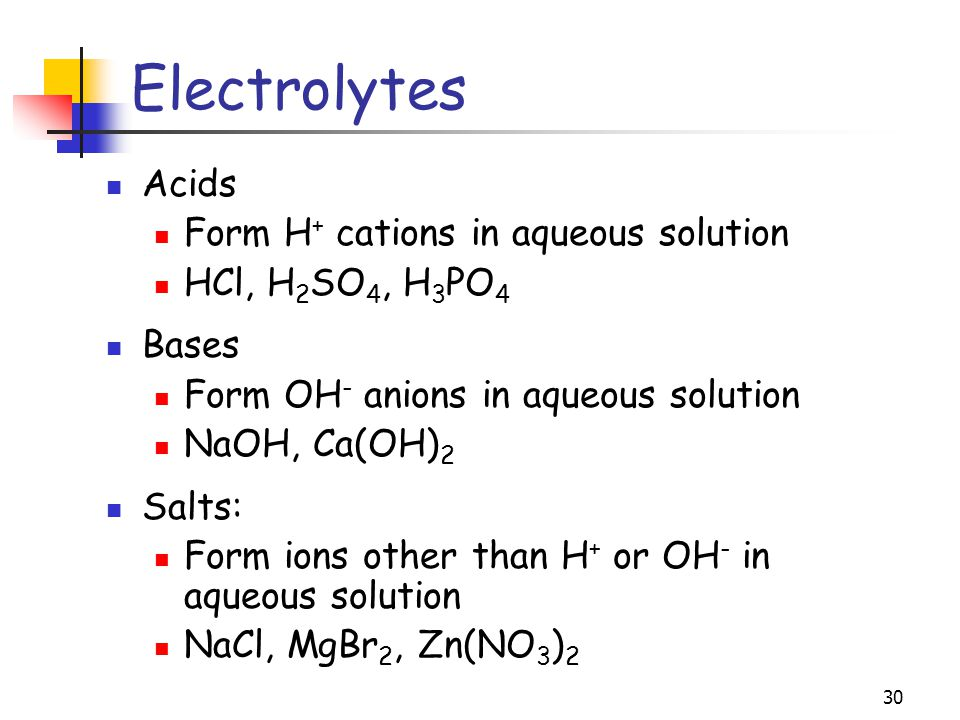 Electrolytes Acids Form H+ cations in aqueous solution