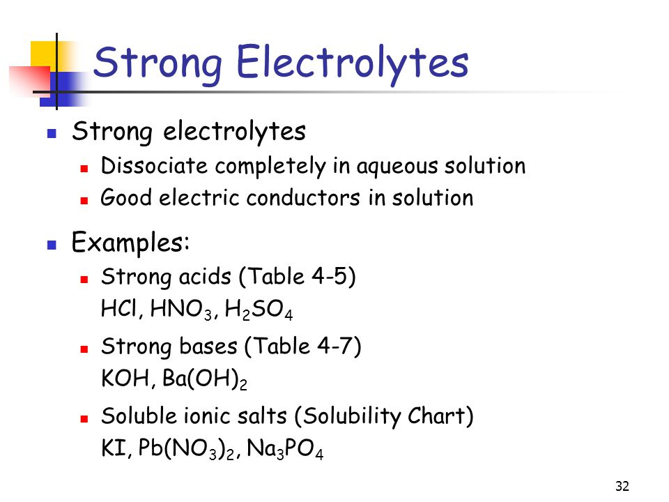 Strong Electrolytes Strong electrolytes Examples: