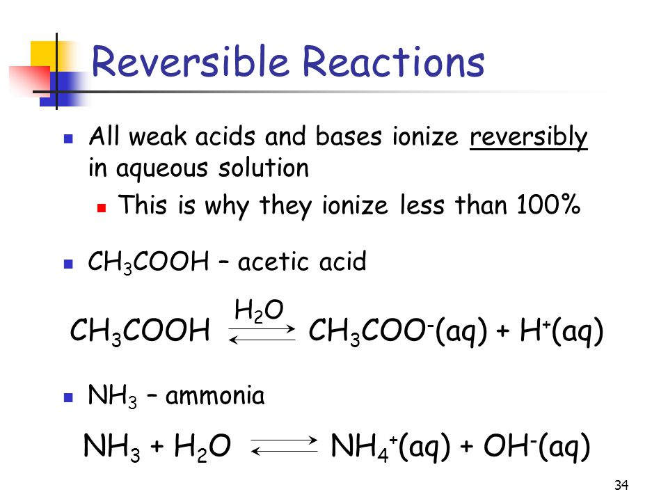 Reversible Reactions CH3COOH CH3COO-(aq) + H+(aq)
