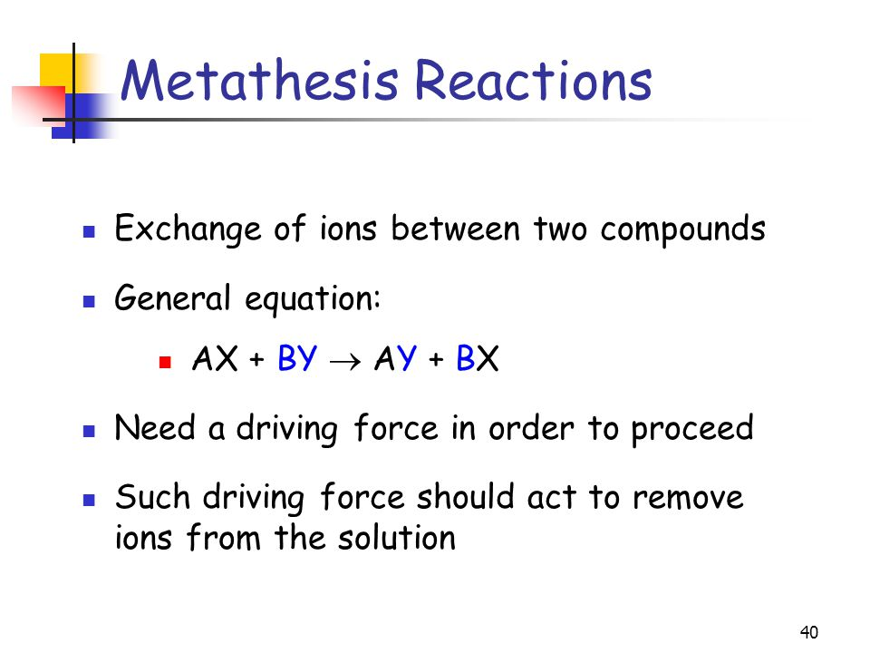 exchange metathesis Metathesis may refer to: changes of vocal properties metathesis (linguistics), alteration of the order of phonemes within a word quantitative metathesis, exchange.