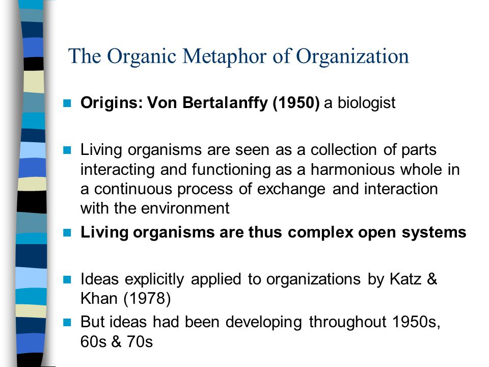 metaphors of organizations Published in 2001, this article explains that underlying every theory of management or organisation is a metaphor it described eight commonly used metaphors and gareth morgan's method for analysing and facilitating organisations to change.