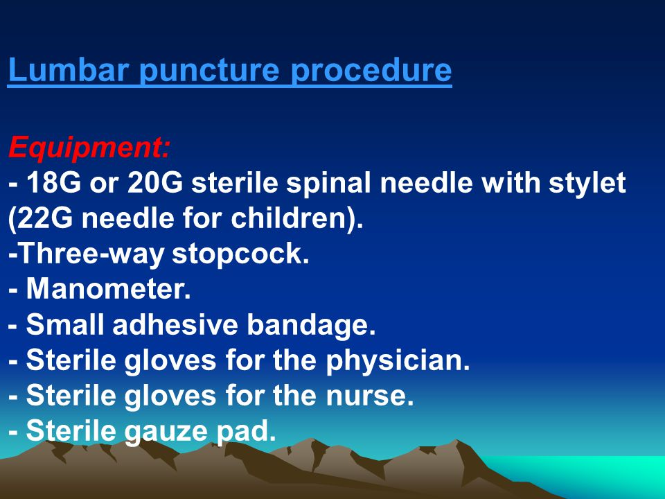 Lumbar puncture indications and procedure ppt video online download lumbar puncture procedure pronofoot35fo Choice Image