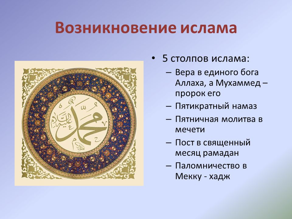 Возникновение ислама 5 столпов ислама: