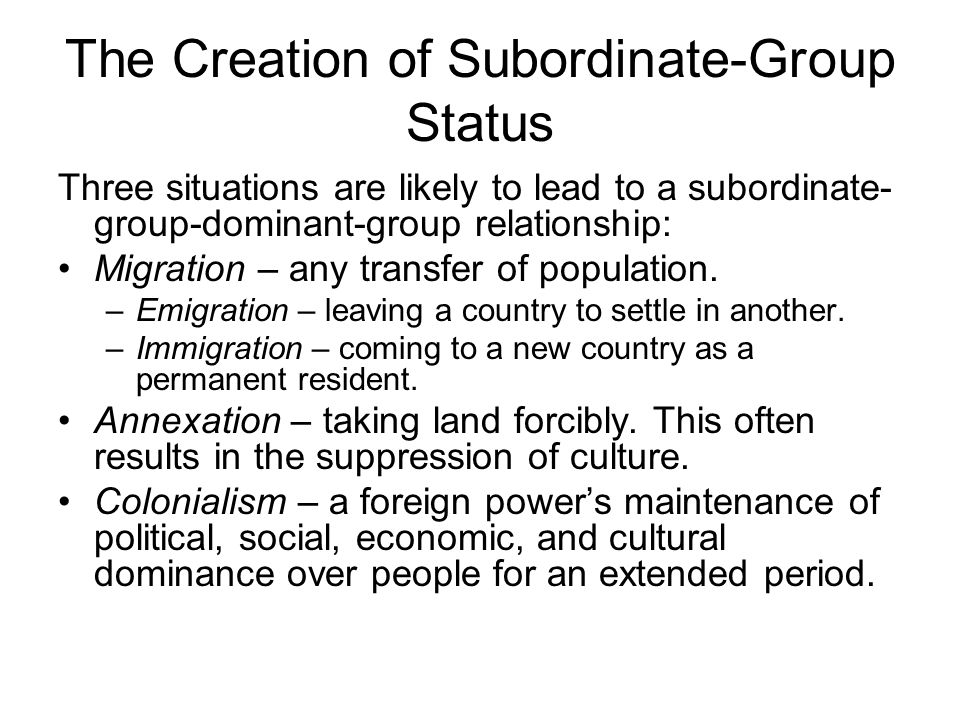 creation and consequences of subordinate group status Question title: tb_01_08_the creation of subordinate-group status_remember_lo 16  65 in the context of consequences of subordinate-group status,.