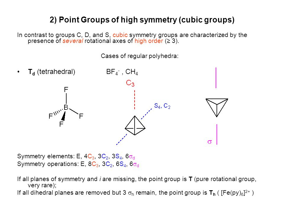 symmetry point groups Each molecule has a set of symmetry operations that describes the molecule's overall symmetry this set of operations define the point group of the molecule the process used to assign a molecule to a point group is straightforward with a few exceptions.