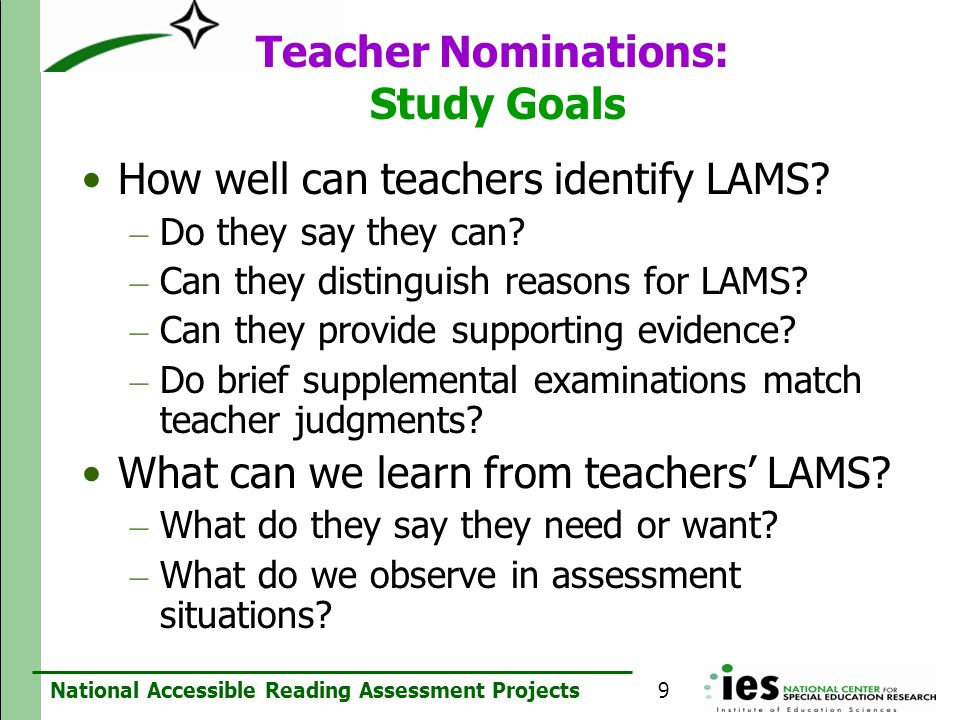 Teacher Nominations: Study Goals