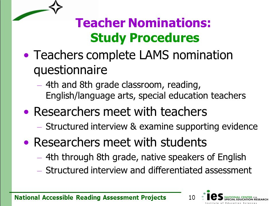 Teacher Nominations: Study Procedures