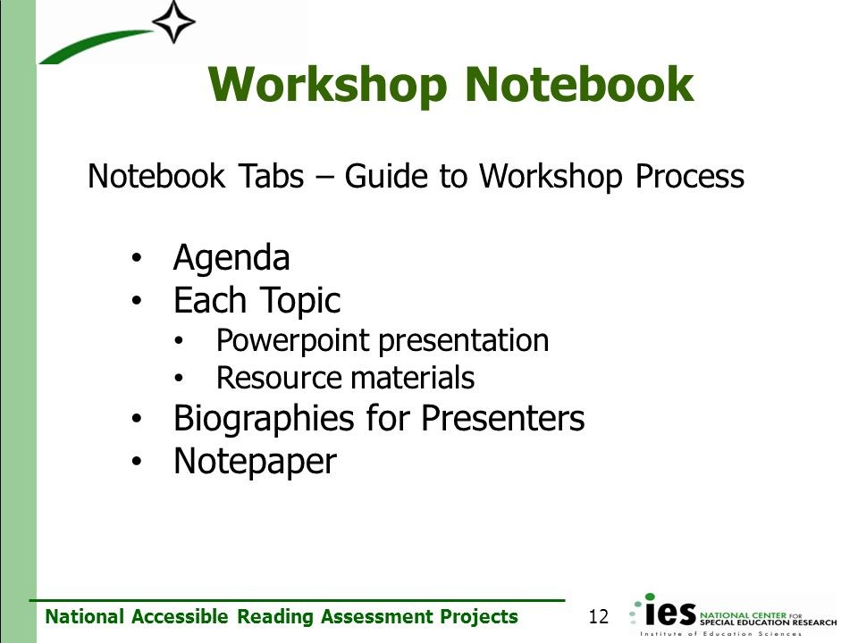 Workshop Notebook Agenda Each Topic Biographies for Presenters