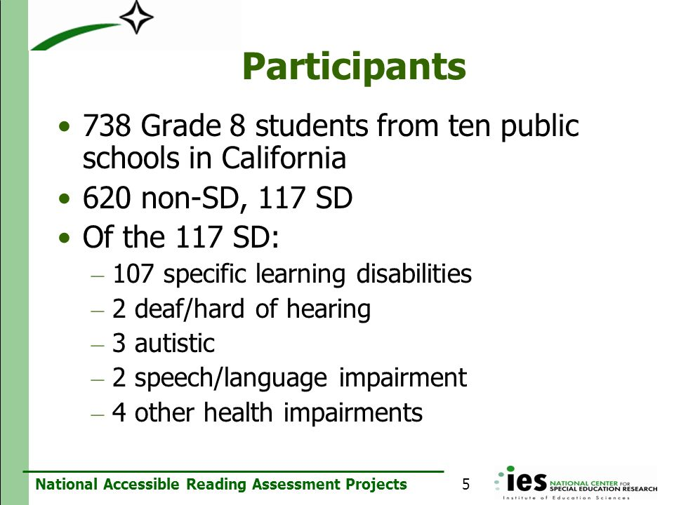 Participants 738 Grade 8 students from ten public schools in California. 620 non-SD, 117 SD. Of the 117 SD: