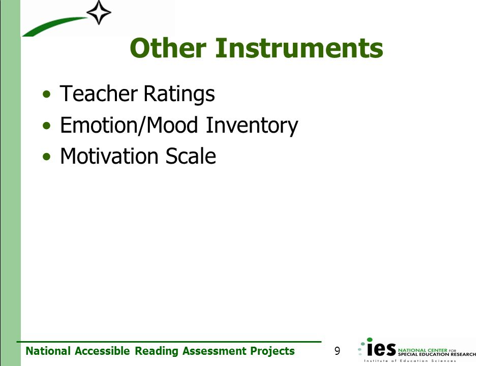 Other Instruments Teacher Ratings Emotion/Mood Inventory