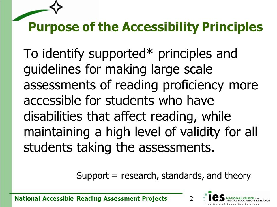 Purpose of the Accessibility Principles