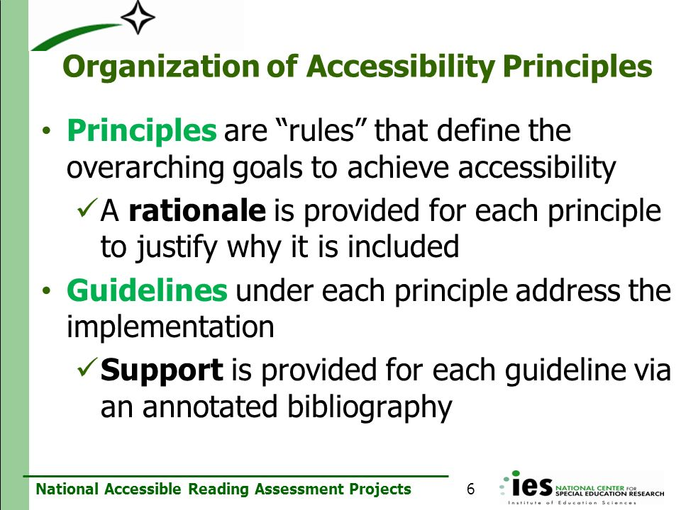 Organization of Accessibility Principles